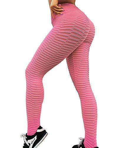 Yaavii Damen Sport Leggings Lange Kompressions Sporthose Hohe Taille Yoga Hose Fitness Hose mit Bauchkontrolle Rosa M