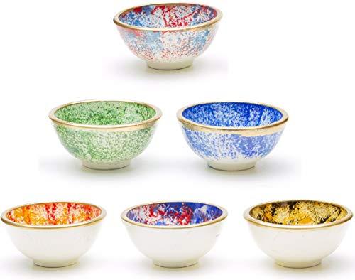 Kleine Keramikschalen 6er Set - Snackschalen für Tapas, Dessert, Nüsse, Sojasaucenschale, Eis, Dipschalen, Sushi-Zutaten - Buntes Deko Marokkanisches Spanisch Mexikanisches Mandala - Smoothie Bowl