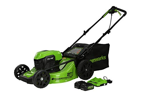 Greenworks 48V (2 x 24V) 21-Inch Brushless Cordless Self-Propelled Lawn Mower, (2) 5.0Ah USB Batteries (USB Hub) and Dual Port Rapid Charger