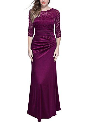 Miusol Elegante Encaje Largo Fiesta Vestido para Mujer Rojo Large