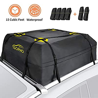 "ISOPHO Rooftop Cargo Carrier, Car Roof Bag 15 Cubic ft (38""x38""x18"") Waterproof Luggage Car Top Carrier Heavy Duty Tear-Resistant Suitable for All Vehicles with/Without Rack"