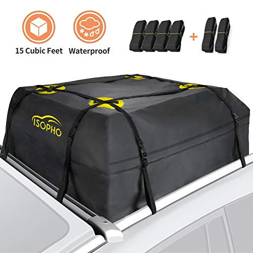 ISOPHO Rooftop Cargo Carrier, Car Roof Bag 15 Cubic ft (38'x38'x18') Waterproof Luggage Car Top Carrier Heavy Duty Tear-Resistant Suitable for All Vehicles with/Without Rack