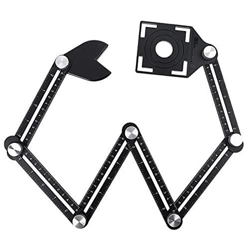 BAWAQAF Regla de medición de múltiples ángulos,Regla plegable,Herramienta de plantilla de buscador de ángulo de aleación de aluminio de 6 lados,Localizador de azulejos de regla plegable