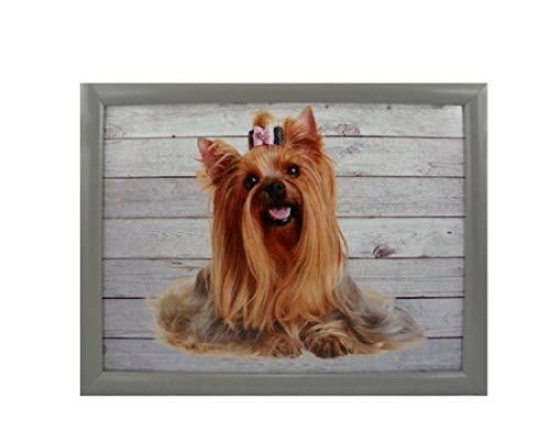 Bavaria Home Style Collection TABLET hond Yorkshire inzetbaar als knietafel met kussen voor laptop om te eten in bed salontafel kniekussen cadeau-idee Pasen