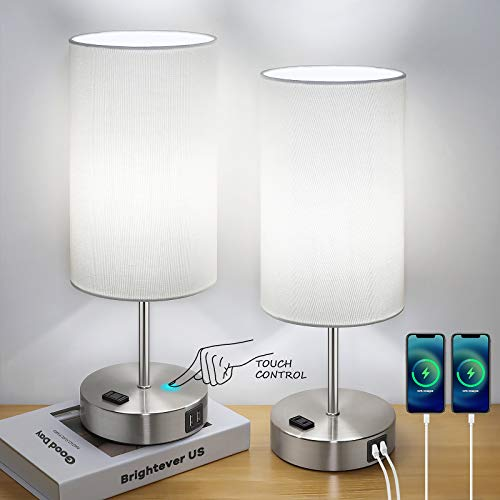 Set of 2 Touch Control Table Lamps with 2 USB Charging Ports&AC Outlet, 3-Way Dimmable Bedside Nightstand Lamps with White Fabric Lampshade for Reading, Bedroom, Living Room, A19 LED Bulbs Included