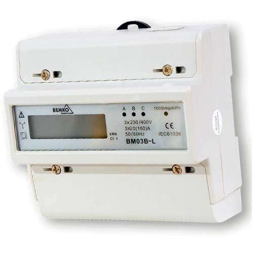 Preisvergleich Produktbild Unterstromzähler / Drehstromzähler Hutschiene 3x100A digital 3-Phasen Bemko BM03B-L
