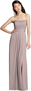 Mesh and Lace Long Strapless Bridesmaid Dress Style F18095