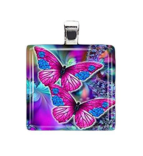 Amor colgante de azulejos de cristal morado con mariposa, delicado colgante, cristal puro hecho a...