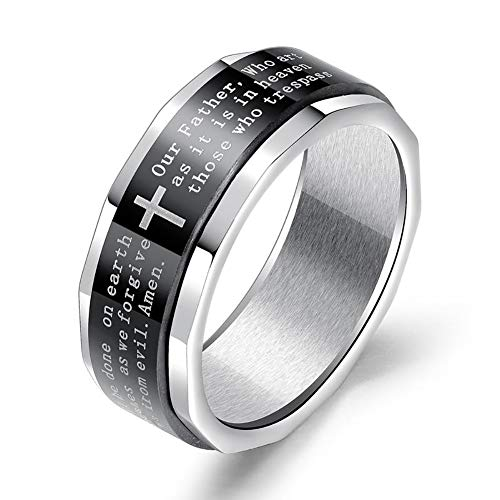 Yoursfs Fashion Scripture Cross Bible Text Jesus Tattoo Men Ring Rings For Women Titanium Steel Jewelry Gift
