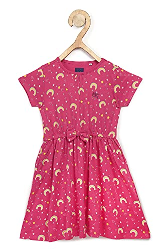 Allen Solly Junior Cotton Blend Fit and Flare Dress (AGDRCRGFX57551_Pink_9 Years)