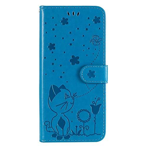 FANFO® Hülle für LG Velvet (4G/5G) 6.8'' Handyhülle, PU/TPU Leder Magnetschnalle Tasche Flip Wallet Klapphülle Standfunktion Schutzhülle Hülle Cover, Blau