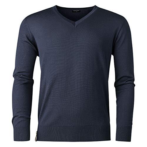 agon Herren Sommer-Merino Pullover - hochwertiger V-Pullover für Männer, pflegeleicht und atmungsaktiv, für Sport und Business, Made in EU Marine 54/XL