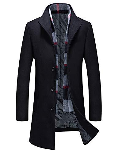 APTRO Men's Wool Coat Winter Trench Coat Business Jacket 1911 Black S