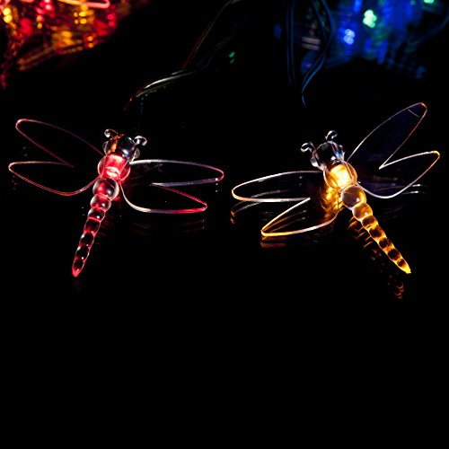 50 Multi-Colour LED Dragonfly Solar Powered Fairy Lights - Waterproof Solar Decoration String Lights with Built-in Night Sensor - for Christmas, Outdoor, Garden, Fence, Patio, Yard, Walkway, Driveway, Shed, Garage, Path, Ornament, Stairs and Outside by SPV Lights: The Solar Lights & Lighting Specialists (Free 2 Year Warranty Included)