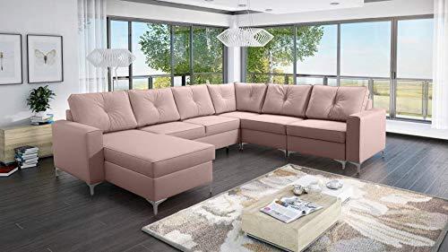 all4all Wohnlandschaft Ecksofa skandinavisch Couch Rio Garnitur U-Form Stoff Sofa 26 (Links)