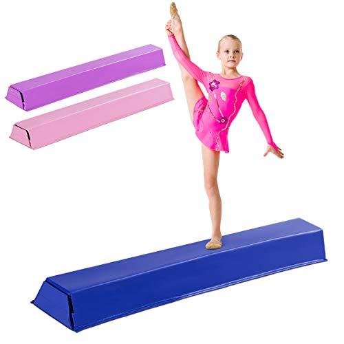 COSTWAY 117cm Schwebebalken, Balken Turnen mit Klettverschluss, Balance Beam, Gymnastikbalken zum zuhause Turnen, Balance Balken ideal für Springen, Handstand und Radschlag (Blau)