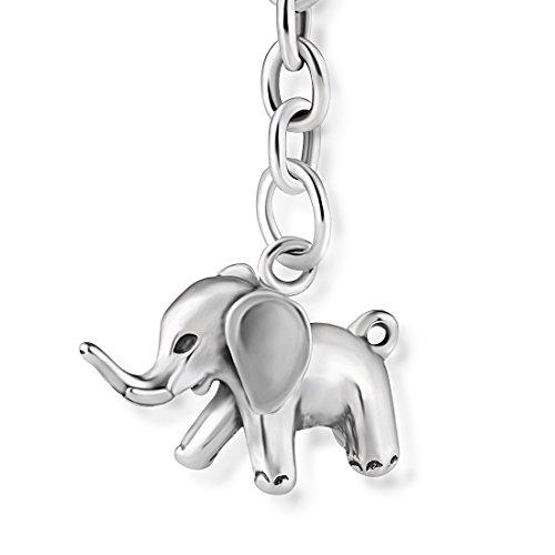 STERLL Herren Schlüssel-Anhänger Glückbsbringer Elefant Silber 925 Oxidiert Schmuck-Beutel Valentinstag Geschenk für
