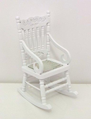 Town Square Miniatures Muebles para Casa de Muñecas Silla Mecedora de Madera Blanca Asiento Tejido