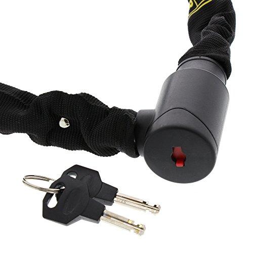 BURG-WÄCHTER Gehärtete Vierkantkette mit integriertem Zylinderschloss, Hochwertige Textilummantelung, 6 mm stark, Länge: 90 cm, 2 Schlüssel, 580 90 Black, Schwarz - 3
