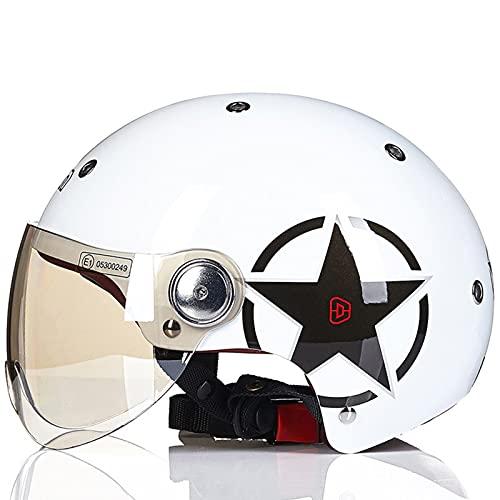 CHENGL Casco de Moto Vintage de Verano Casco de Media Carcasa de Moto Retro con Visera de Sol Casco de Scooter de ciclomotor para Hombres y Mujeres jóvenes (55-61cm)