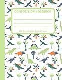 Dinosaur Pattern Composition Notebook: Green T-Rex, Brachiosaurus, Stegosaurus Wide Ruled Lined Paper for Kids, Boys, Girls, Handwriting Practice Journal KS2