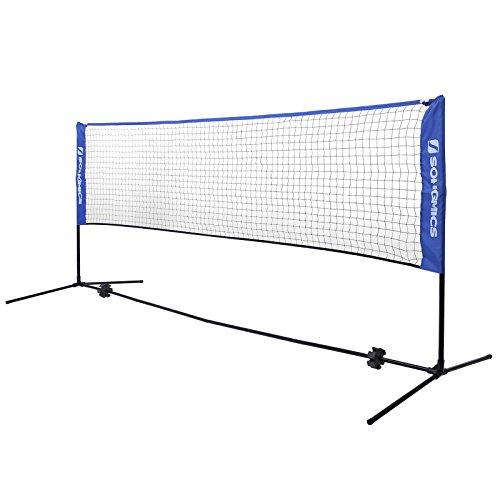 SONGMICS 3 m Badmintonnetz, Tennisnetz, höhenverstellbar, Set bestehend aus Netz, stabilem Eisen-Gestell und Transporttasche SYQ300V1