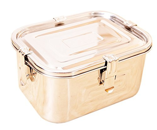 Stainless Steel 101oz(3L) Rectangular Seal Kimchi Food Leakproof Airtight Storage Container Saver by Namyoung