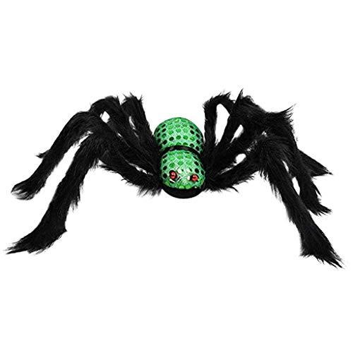 Große Spinne Halloweendekoration Haunted House Prop Plüsch Spinne unheimlich Dekoration, Spinnen Spitze Spinnennetz Decke für Kamin Tür Karneval Halloween Party Grusel Deko (Grün)