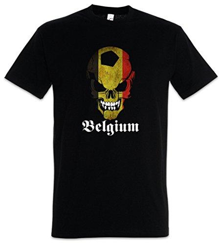 Urban Backwoods Black Classic Football Soccer Belgium Skull Flag Hommes T-Shirt Noir Taille S