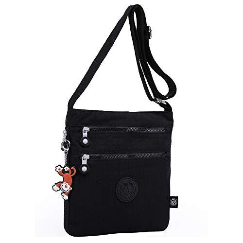 Foino Umhängetasche Damen Schultertasche Mode Kuriertasche Vintage Handtasche Lässige Taschen Reisetasche Leicht Strandtasche Sporttasche für Mädchen Büchertasche Design Messenger Bag (Schwarz One)