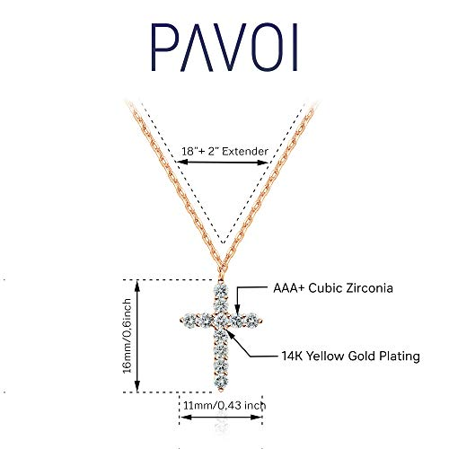 PAVOI 14K Gold Plated Cross Necklace for Women | Cross Pendant | Gold Necklaces for Women