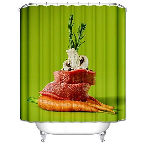 Knbob Duschvorhang Zum Einhängen Seerose Blume Essen Duschvorhang Bunt Duschvorhangringe 150X200CM