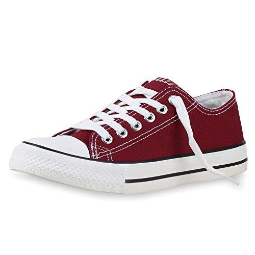 SCARPE VITA Damen Sneakers Sportschuhe Freizeit Schnürer Stoffschuhe 138467 Dunkelrot Rot 43