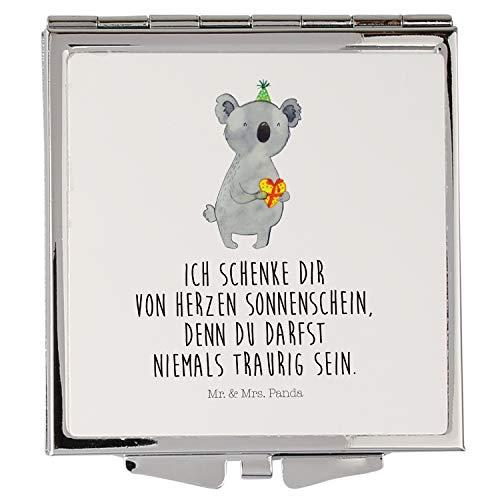 Mr. & Mrs. Panda Silber, Schminkspiegel, Handtaschenspiegel quadratisch Koala Geschenk mit Spruch - Farbe Weiß
