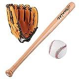 SUQIAOQIAO Juego de murciélagos de béisbol de Madera de los Adolescentes de 64cm, Juego de béisbol de béisbol de Bola de softbol con Bolsa,A