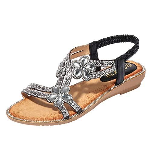 Sandalias de Mujer Veran Tamaño Grande Bohemian Flor de Strass Plano Boca de Pescado Sandalias de Playa Zapatillas y Chanclas para Mujeres Zapatos Vestir de Fiesta riou 36-42