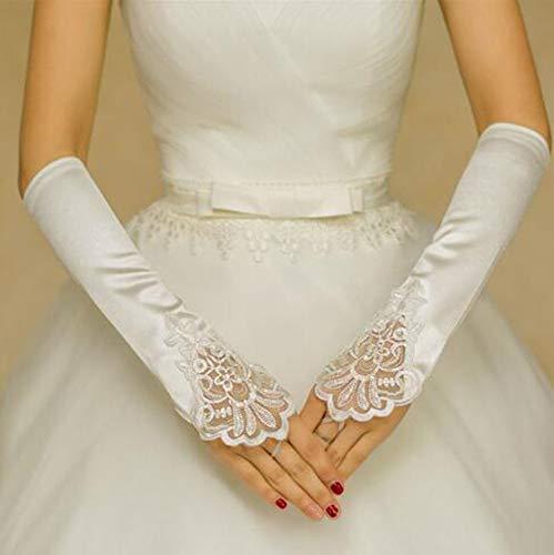 HANJIAJKL Lange Satinhandschuhe mit Ellbogen/Lange Satinhandschuhe mit Ellbogen/Lange Schwarze, weiße Satinhandschuhe/für Hochzeit, Tanz,A