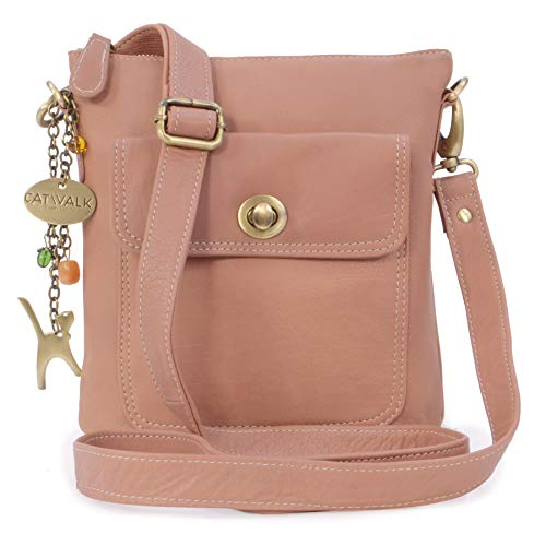 Catwalk Collection Handbags - Leder - Umhängetasche/Schultertasche - LAURA - Rosa