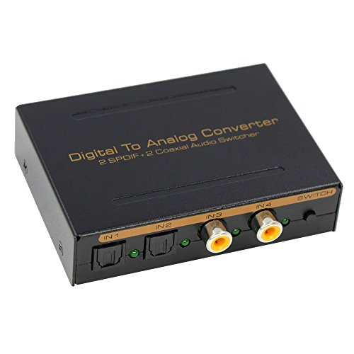 BLUPOW DAC 光デジタル アナログ オーディオ変換器「光&同軸デジタル入力各2系統 → アナログRCA/3.5mmヘッドフォン+光デジタル出力」オーディオコンバーター SPDIF/Toslink変換 光 同軸 変換 DDC/DAコンバーター ハイレゾ音源192KHz/24bit対応