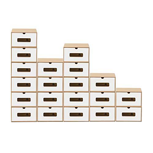 BigDean 20x Schuhaufbewahrung BRAUN/Weiss mit Sichtfenster Aufbewahrungsbox Stapelbar Storage Box Schuhbox Schuhkarton Schuhschachtel Allzweckbox Schublade Pappe aus Kraftpapier