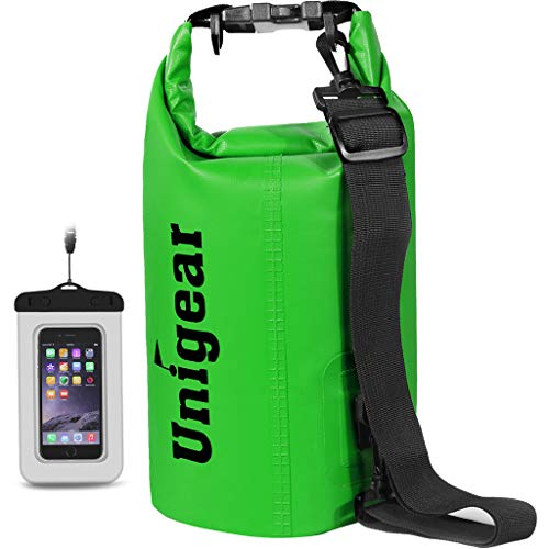 Unigear Dry Bag Waterproof, Floating and Lightweight Bags for Kayaking, Boating, Fishing, Swimming and Camping with Waterproof Phone Case (Green, 5L)