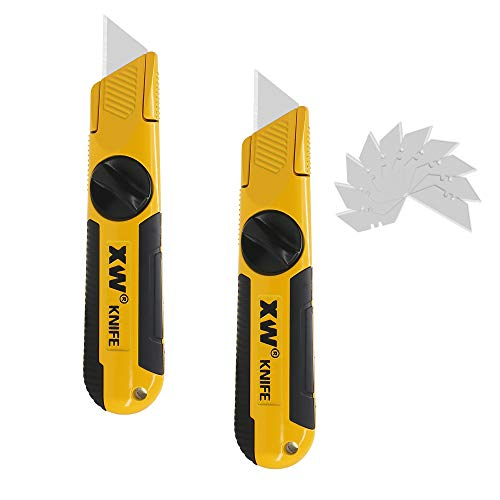 XW Fixed-Blade Utility Knife, Non-Retractable Heavy Duty Drywall Cutter, Extra 10 Blades Included,2-Pack