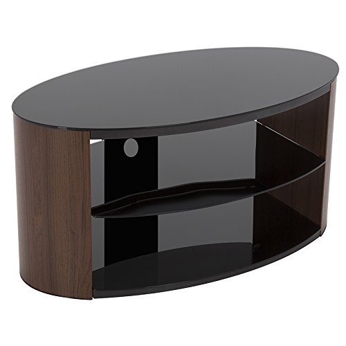 """King Universal Wood Effect Walnut TV Stand with Black Glass Top & Shelves 80cm suitable up to 40"""" inch for HD Plasma LCD LED OLED Curved TVs by TV Furniture Direct"""
