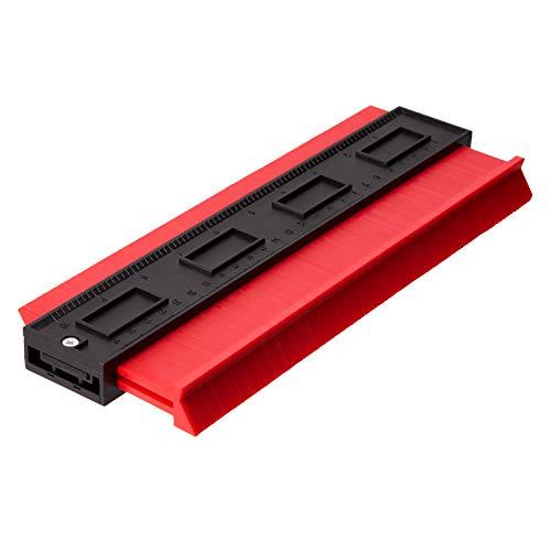 LUTER Konturenlehre, Profillehre Lineal Konturvervielfältiger Konturmesser für präzise Messungen Fliesen Laminat Holz Markierwerkzeug (Rot) (10 Zoll)