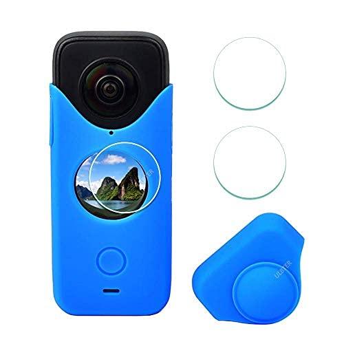 Funda de goma azul para insta360 One x2 + protector de pantalla [3+1 paquete],...