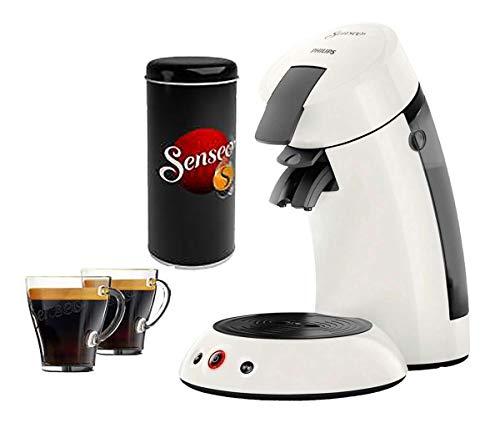 Senseo Set Kaffemaschine Kaffekapselautomat HD6553/12 weiss + Paddose + 2 Senseo Gläser