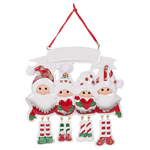 Kurt Adler A1958 Gnome Family of 4 Hanging Ornament for Personalization, 5-inch High, Resin