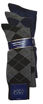 Polo Ralph Lauren Mens 3 Pair Antimicrobial Combed Cotton Argyle Sock  10-13 Black/Grey/Navy