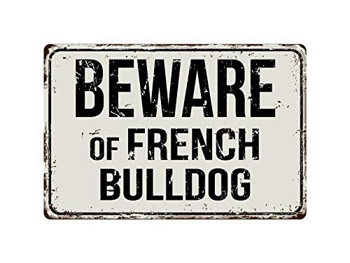 """Deerts 283VS Beware of French Bulldog 8"""" x 12"""" Vintage Aluminum Retro Metal Sign"""