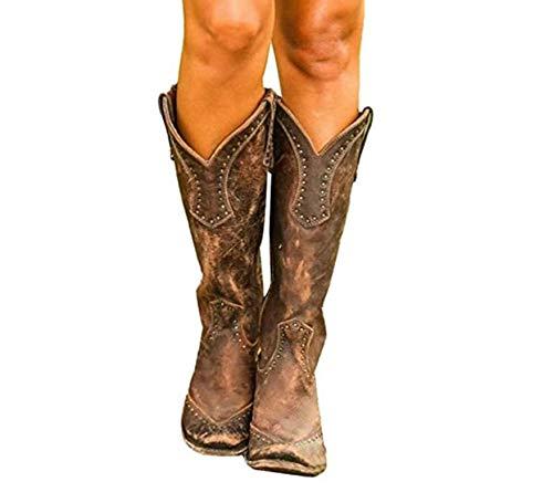 Womens Boots Retro Rivet knie hoge laarzen handgemaakte lederen Long laarsjes Women Hoge Cowboy Boots Fashion Casual Zipper Riding Boots,Brown,42